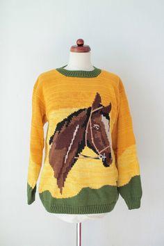 Horse Sweater - Handknitted - Vintage Mustard Sweater - Animal Print - Size S Kids Knitting Patterns, Knitting For Kids, Knitting Designs, Baby Knitting, Hand Knitted Sweaters, Baby Sweaters, Vintage Sweaters, Boy Diy Crafts, Diy Crafts Knitting