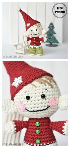 Amigurumi Christmas Elf Free Crochet Pattern - Quick, Easy, Cheap and Free DIY Crafts Crochet Christmas Ornaments, Christmas Crochet Patterns, Holiday Crochet, Crochet Snowflakes, Christmas Toys, Crochet Patterns Amigurumi, Crochet Dolls, Amigurumi Doll, Christmas Angels