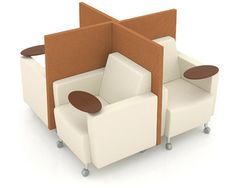 Adding new meaning to versatility, the Gee lounge chair transforms into  innovative group seating with its pinwheel arrangement. Space is  maximized by allowing each user privacy and individual workspace with  the optional tablet arm. - See more at: http://www.agati.com/modular-quads/#sthash.nUgHqeFb.dpuf