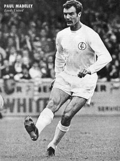 17th October 1970. Possibly the greatest utility player ever, Paul Madeley, in action against Manchester United