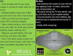 Congratulations, You've bought your It Works Body Wrap!  Now what???  Here are some basic do's and don'ts when wrapping :)  If you need more help, I would love to talk you through it!   www.skinnygirlwrapsatl.com