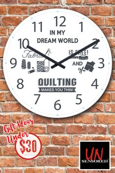 Limited Edition Quilting World Clock! Not Sold In Stores. Get yours now before time runs out! Quilting Room, Hand Quilting, Crazy Quilting, Hexagon Quilting, Quilting Designs, Machine Embroidery Designs, Quilting Ideas, First Sewing Projects, Quilting Quotes