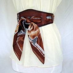 Fall Roses.....Brown Leather Scarf Belt, Wear Any Scarf as a Belt.  By ContrivedtoCharm on etsy.
