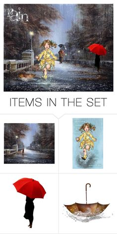 """Playing In The Rain"" by coconut-cag ❤ liked on Polyvore featuring art"