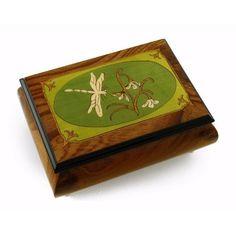 Tranquil Olive Green and Wood Tone Dragonfly Music Box (Tara's Theme): Jewelry: Amazon.com