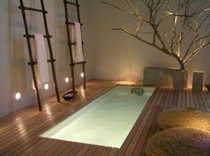 un plancher de bois dans une salle de bains moderne avec une baignoire à encastrer, des coussins intéressants et un petit arbre décoratif