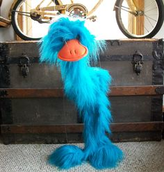 Large Vintage Marionette - Big Fuzzy Blue Bird Stringed Puppet by LucysLuckyDeals on Etsy