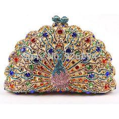 Charm refined luxury high-quality colorful peacock style diamond wedding party mini handbag clutch evening bag lady wallet purse