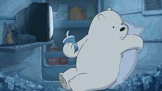 Ice Bears awesome bedroom inside the kitchen fridge Ice Bear We Bare Bears, 3 Bears, Cute Bears, Pardo Panda Y Polar, Bear Gif, We Bare Bears Wallpapers, Happy Cartoon, Bear Wallpaper, Cartoon Icons