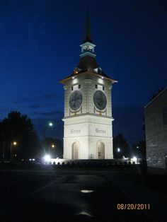 The clock tower in Berne, Indiana.