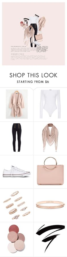 """""""Classyyy"""" by myaibrahim ❤ liked on Polyvore featuring ATM by Anthony Thomas Melillo, Balmain, Converse, Future Glory Co., Forever 21, LunatiCK Cosmetic Labs, Kester Black and winterscarf"""