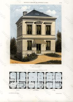 Stampe antiche architettura architettura 1855 di Printvilla4you