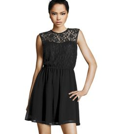 H & M Lace Dress. I have this in Ivory. Now I need it in Black and Blue. When you find something that fits you well, buy it in every color possible. I'm petite and 32D chest size. This fits perfect and still hits above the knees. I definitely recommend the dress. [12/18/12 update] I just stopped by the store (different location) and bought the blue and black version. Yay!!