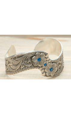 Montana Silversmiths® True Blue Wildflower Spray Cuff Bracelet