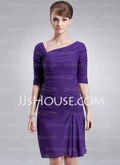 Mother of the Bride Dresses - $105.99 - Sheath V-neck Knee-Length Chiffon Mother of the Bride Dress With Ruffle (008006130) http://jjshouse.com/Sheath-V-Neck-Knee-Length-Chiffon-Mother-Of-The-Bride-Dress-With-Ruffle-008006130-g6130