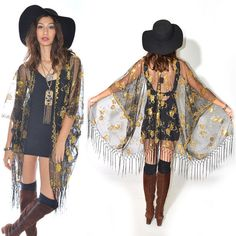 Sheer Lace Sequins Fringe Cocktail Party Kimono GOLD Jacket