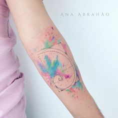 Fine line tattoo by Ana Abrahão. AnaAbrahao fineline subtle pastel watercolor goldenratio