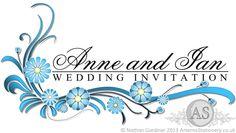 Sienna - floral wedding invitation design in light blue