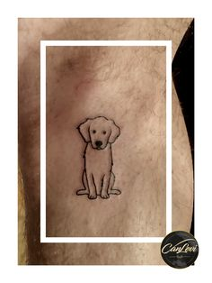 Minimal linework dog tattoo