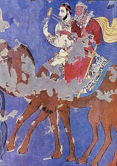 Fresco of Traders on The Silk Road, Dunhuang, China Tempera, Fresco, Asian Continent, Dunhuang, Achaemenid, Journey To The West, Silk Road, Arabian Nights, Central Asia