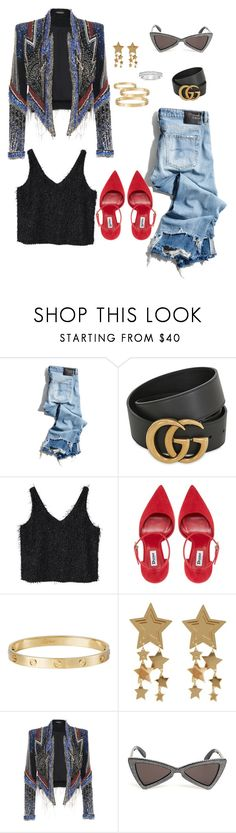 """""""Retro chic"""" by thestylehouseofchic on Polyvore featuring R13, Gucci, MANGO, Cartier, Yves Saint Laurent and thestylehouseofchic"""