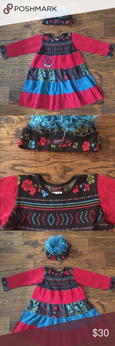 ZAZA Couture Dress and Fuzzy Hair Hat sz 4 EUC Super adorable ZAZA Couture Dress and matching fuzzy hair hat. Girls sz 4. In excellent condition. Zaza Couture Dresses Casual