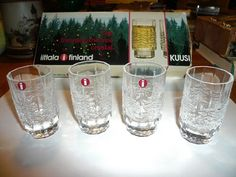iittala finland kuusi christmas cordial shot glasses 2046 004 never used Cordial, Shot Glasses, Pint Glass, Finland, Barware, Festive, Mugs, Tableware, Christmas