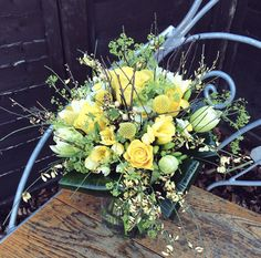Spring yellow wedding bouquet. Roses, tulips, broom.  www.blossomandbramble.co.uk  Blossom and Bramble