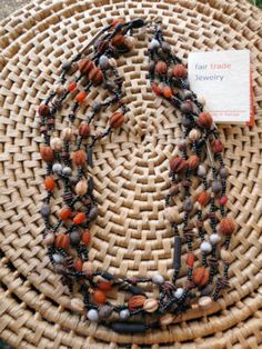 5 Strand Beads and Seeds Necklace handmade in Kenya, Fair Trade $21.99