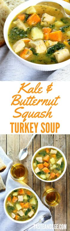 Kale and Butternut Squash Turkey Soup - perfect pot of healthy goodness. A hearty reprieve from all that decadent holiday eating! http://tasteandsee.com