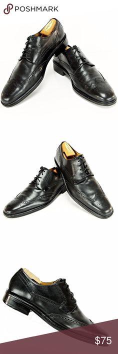 Cole Haan Mens Black Leather Wing-Tip Dress Shoes COLE HAAN Men s Size 14 M 3bd9c05c3