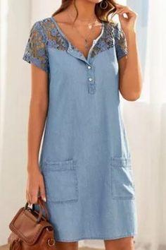 Womens Denim Dress, Denim Shirt Dress, Denim Shorts, Knee Length Dresses, Short Sleeve Dresses, Short Sleeves, Floryday Vestidos, Mode Hippie, Vestido Casual