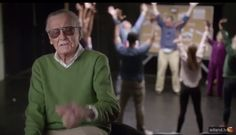 """Stan Lee stars in the """"Stan Lee Cameo Acting School"""" cobranded Audi & Avengers clip. Funnym"""