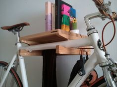 Levit-1  oak wood wall bicycle stand / solid oak by WoodOOcycles
