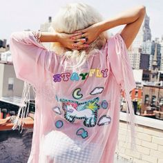 Rachel from I Hate Blonde in the UNIF Stay Fly Kimono || Get the kimono: http://www.nastygal.com/Brands/unif-stay-fly-kimono?utm_source=pinterest&utm_medium=smm&utm_term=ngdib&utm_content=nasty_gals_do_it_better&utm_campaign=pinterest_nastygal