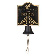 Personalized Anchor Welcome Bell Nautical Plaque. Available now at the best price only at www.everythingnautical.com #Nautical #Home #Decor #Gifts
