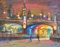 Romantic Ottawa - Framed Fine Art Original Painting on canvas, by world renowned artist Elena Khomoutova