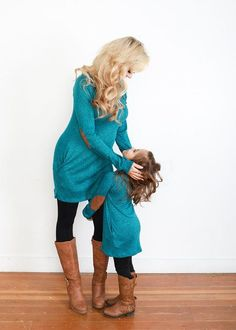 Mommy Suede Elbow Patch Tunic w/ Buttons- Teal. Ryleigh Rue Clothing. Mommy & Me Matching Outfit Boutique.
