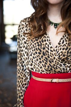 Red skirt outfit with a wild twist