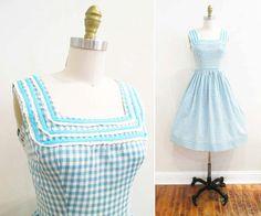 Vestido vintage de los años 1950 | Aqua azul guinga y encaje de los años 1950 Vestido de verano | tamaño xs - pequeño