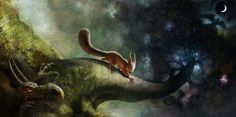 In Norse mythology, Ratatoskr is a squirrel who runs up and down the world tree Yggdrasil to carry messages between the unnamed eagle, perched atop Yggdrasil, and the wyrm Níðhöggr, who dwells beneath one of the three roots of the tree. Art by Daniel Lieske