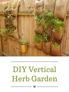 DIY Vertical Herb Garden | Create a vertical herb garden suitable for small outdoor spaces. Includes easy step-by-step instructions—simply sew and sow!