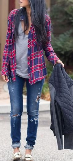 Plaid button up + distressed denim.