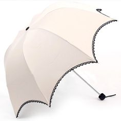 Apparel: Ivory Anti-UV Sun Parasol, Dome-Shaped Arched Folding Umbrella with Black Lace Trimming