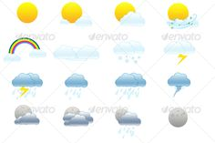 Weather icons — Layered PSD #white #illustrative • Available here → https://graphicriver.net/item/weather-icons/29113?ref=pxcr