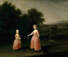 The Edgar children by Arthur Devis. These two little girls -so frail in their darkening setting - are extraordinarily touching. Neither look long for this world. Devis & his wife suffered the most terrible losses as their children died one after another ;  so it's not difficult to imagine what Devis was thinking as he painted these two small girls.