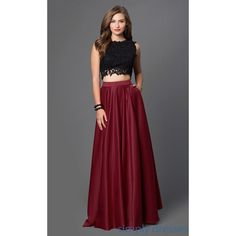 Two-Piece Burgundy Gown (649.780 COP) ❤ liked on Polyvore featuring dresses, gowns, prom dresses, formal evening dresses, 2 piece homecoming dresses, formal ball gowns and 2 piece prom dresses