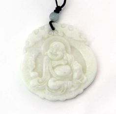 Chinese Natural White Jade Happy Lucky Five Bats Word FU Amulet Pendant Necklace