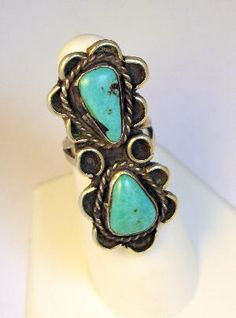 Vintage Sterling Turquoise Long Native American Ring #sterlingsilver #NativeAmerican #turquoise #ring $135.00