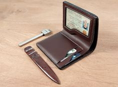 Card Wallet, Cards, Leather, Handmade, Leather Art, Hand Made, Maps, Playing Cards, Handarbeit